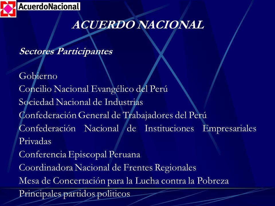 ACUERDO NACIONAL Sectores Participantes Gobierno Concilio Nacional Evangélico del Perú Sociedad Nacional de Industrias Confederación General de Trabaj