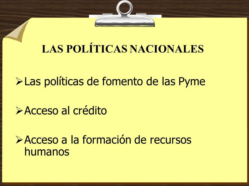 LAS POLÍTICAS NACIONALES Las políticas de fomento de las Pyme Acceso al crédito Acceso a la formación de recursos humanos