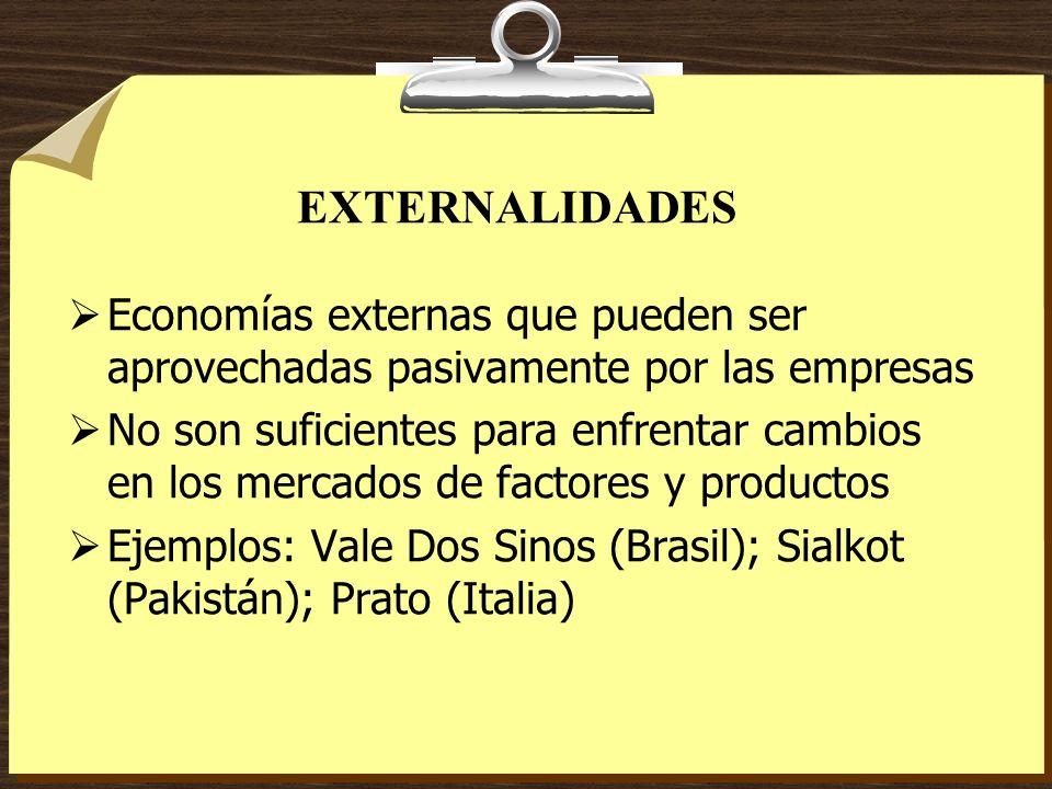 EXTERNALIDADES Economías externas que pueden ser aprovechadas pasivamente por las empresas No son suficientes para enfrentar cambios en los mercados d