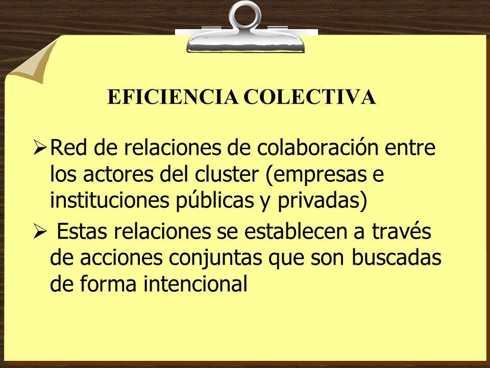 EFICIENCIA COLECTIVA Red de relaciones de colaboración entre los actores del cluster (empresas e instituciones públicas y privadas) Estas relaciones s