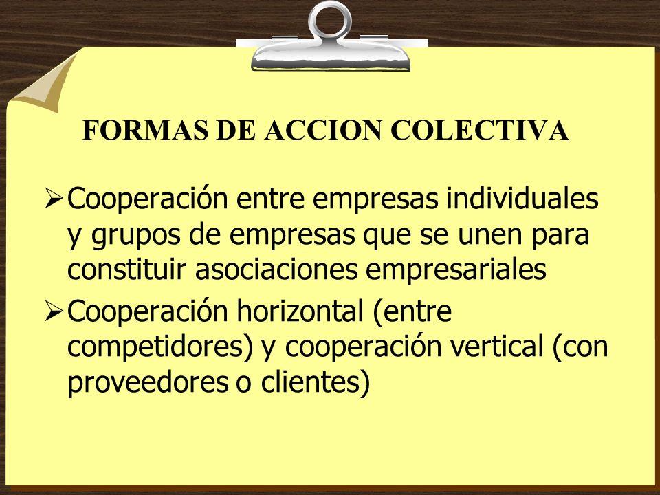 FORMAS DE ACCION COLECTIVA Cooperación entre empresas individuales y grupos de empresas que se unen para constituir asociaciones empresariales Coopera