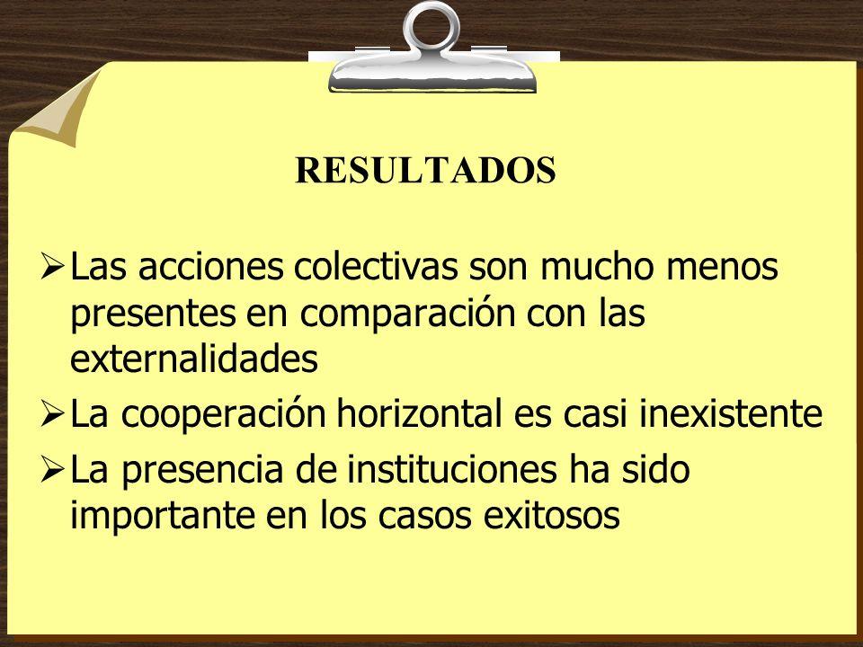 RESULTADOS Las acciones colectivas son mucho menos presentes en comparación con las externalidades La cooperación horizontal es casi inexistente La pr