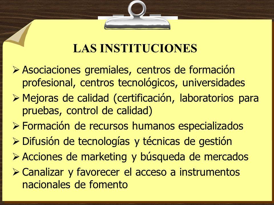 LAS INSTITUCIONES Asociaciones gremiales, centros de formación profesional, centros tecnológicos, universidades Mejoras de calidad (certificación, lab