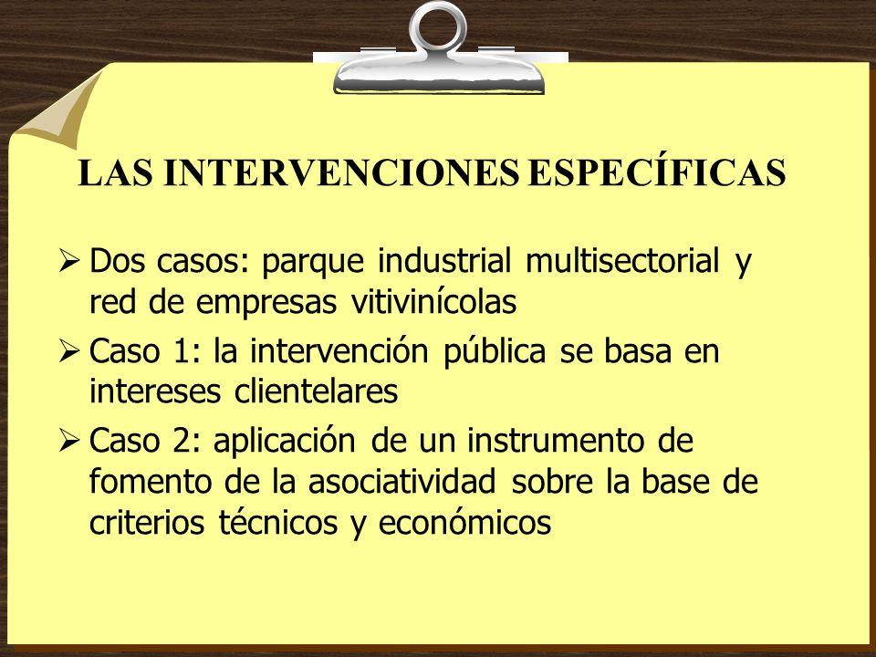LAS INTERVENCIONES ESPECÍFICAS Dos casos: parque industrial multisectorial y red de empresas vitivinícolas Caso 1: la intervención pública se basa en