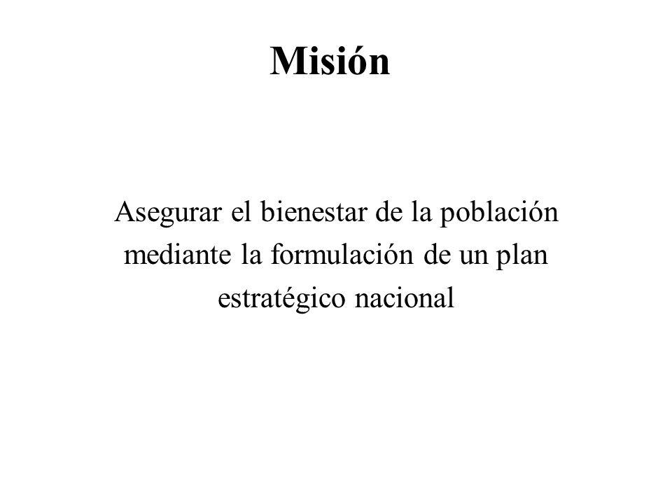 Misión Asegurar el bienestar de la población mediante la formulación de un plan estratégico nacional