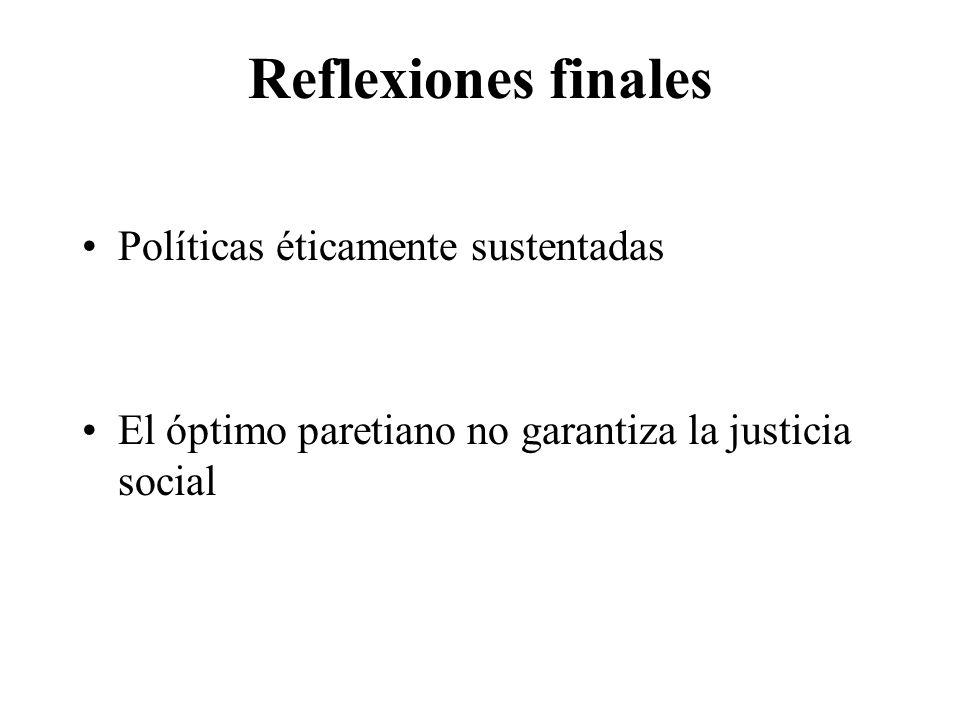 Reflexiones finales Políticas éticamente sustentadas El óptimo paretiano no garantiza la justicia social