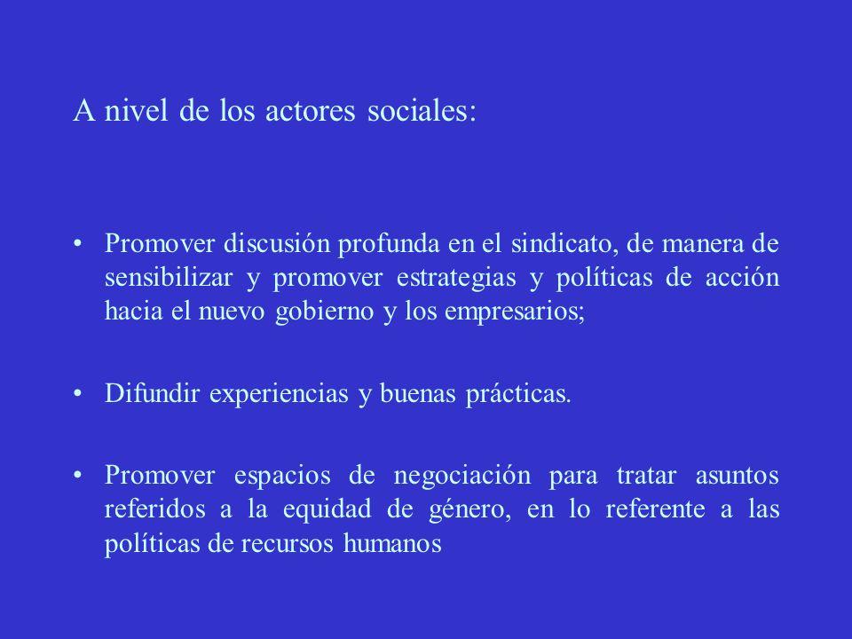A nivel de los actores sociales: Promover discusión profunda en el sindicato, de manera de sensibilizar y promover estrategias y políticas de acción hacia el nuevo gobierno y los empresarios; Difundir experiencias y buenas prácticas.