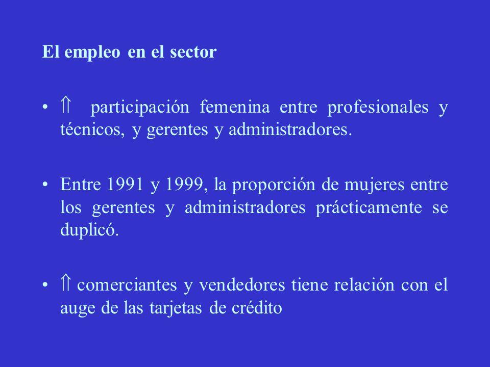 El empleo en el sector participación femenina entre profesionales y técnicos, y gerentes y administradores.