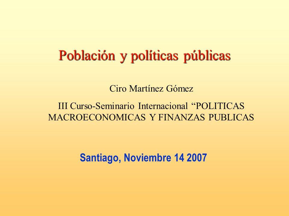 Santiago, Noviembre 14 2007 Población y políticas públicas Ciro Martínez Gómez III Curso-Seminario Internacional POLITICAS MACROECONOMICAS Y FINANZAS