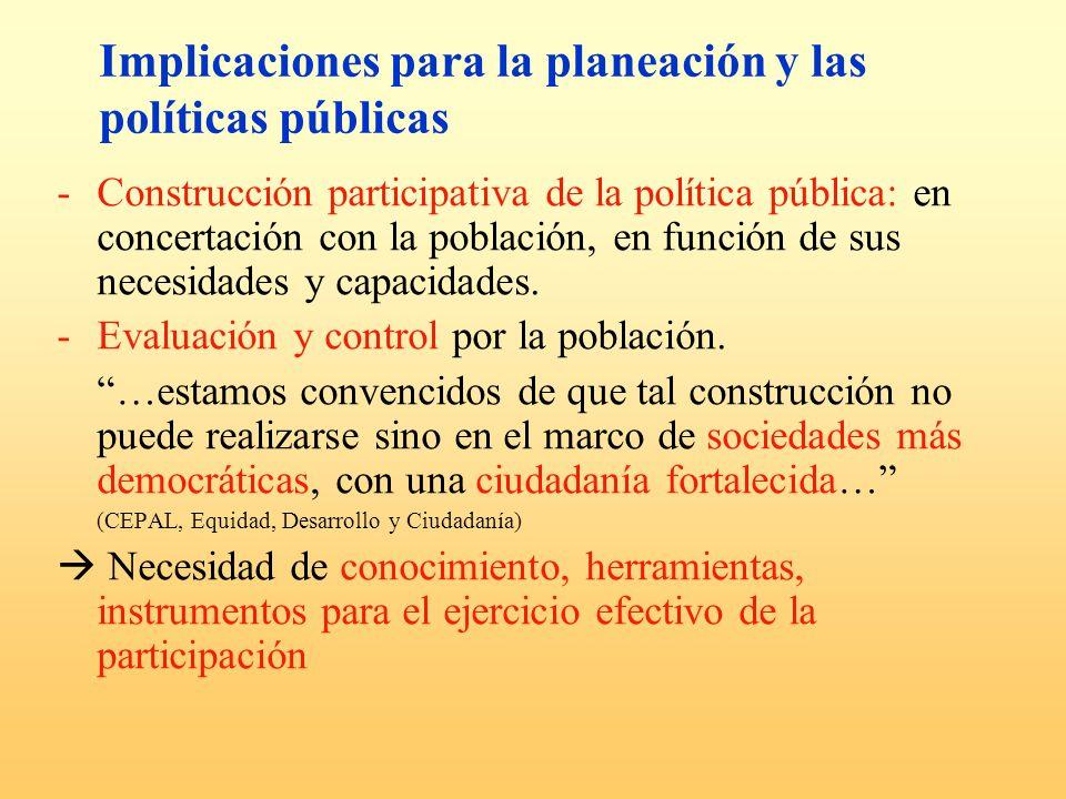 Implicaciones para la planeación y las políticas públicas -Construcción participativa de la política pública: en concertación con la población, en fun