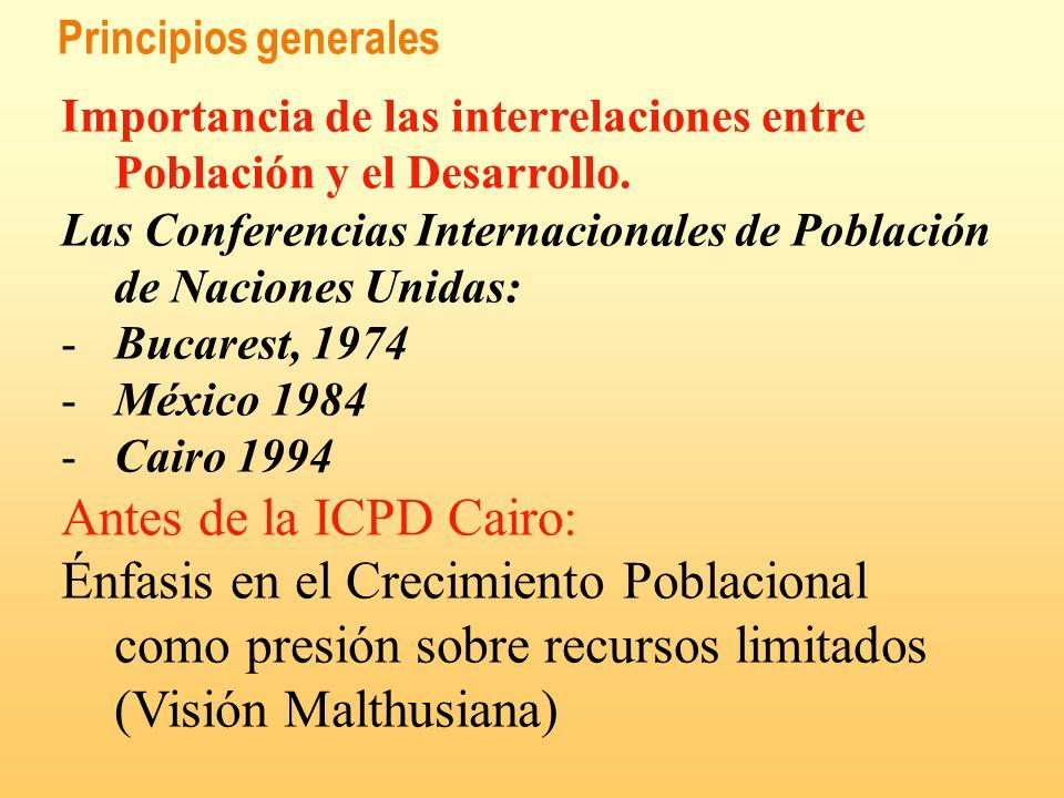 Principios generales Importancia de las interrelaciones entre Población y el Desarrollo. Las Conferencias Internacionales de Población de Naciones Uni