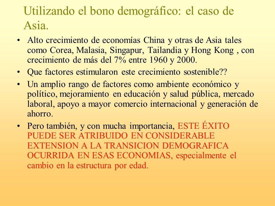 Utilizando el bono demográfico: el caso de Asia. Alto crecimiento de economías China y otras de Asia tales como Corea, Malasia, Singapur, Tailandia y