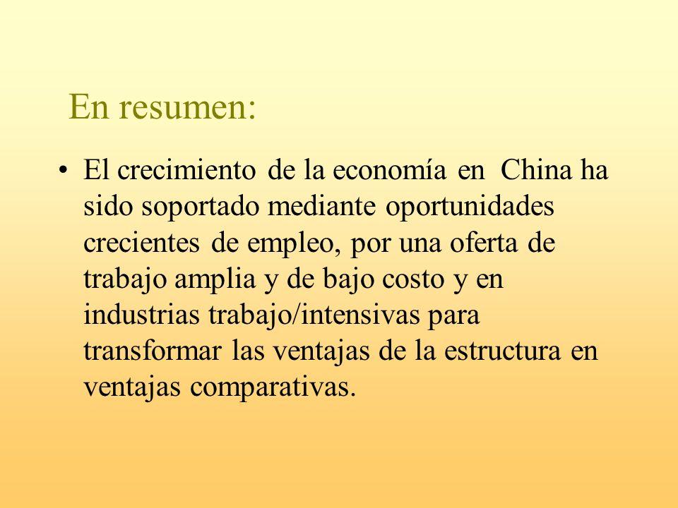 En resumen: El crecimiento de la economía en China ha sido soportado mediante oportunidades crecientes de empleo, por una oferta de trabajo amplia y d