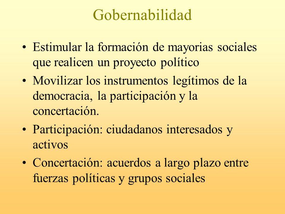 Gobernabilidad Estimular la formación de mayorias sociales que realicen un proyecto político Movilizar los instrumentos legítimos de la democracia, la