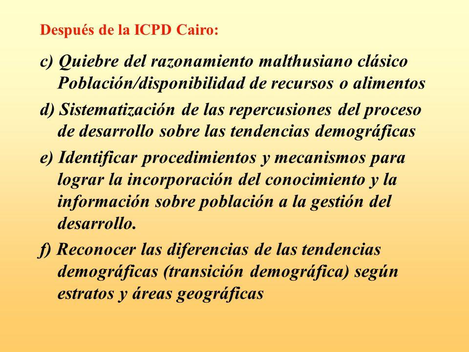 c) Quiebre del razonamiento malthusiano clásico Población/disponibilidad de recursos o alimentos d) Sistematización de las repercusiones del proceso d
