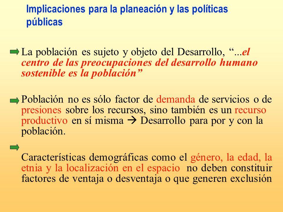 Implicaciones para la planeación y las políticas públicas La población es sujeto y objeto del Desarrollo,...el centro de las preocupaciones del desarr