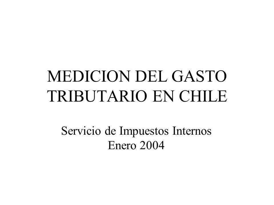 MEDICION DEL GASTO TRIBUTARIO EN CHILE Servicio de Impuestos Internos Enero 2004