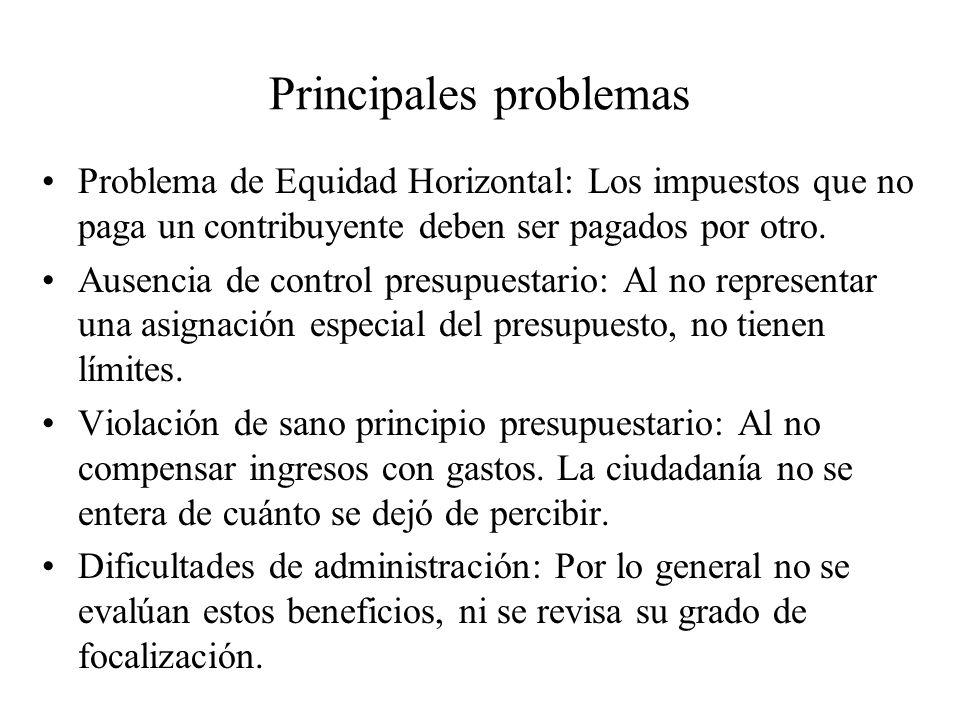Principales problemas Problema de Equidad Horizontal: Los impuestos que no paga un contribuyente deben ser pagados por otro. Ausencia de control presu