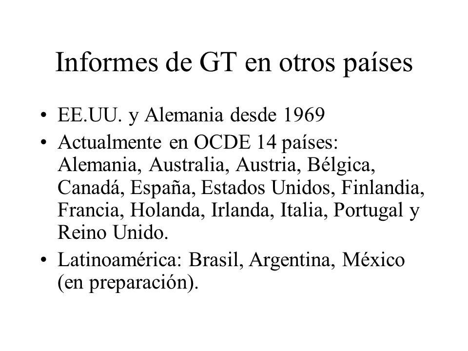 Informes de GT en otros países EE.UU. y Alemania desde 1969 Actualmente en OCDE 14 países: Alemania, Australia, Austria, Bélgica, Canadá, España, Esta