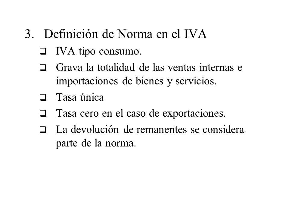 3.Definición de Norma en el IVA IVA tipo consumo. Grava la totalidad de las ventas internas e importaciones de bienes y servicios. Tasa única Tasa cer