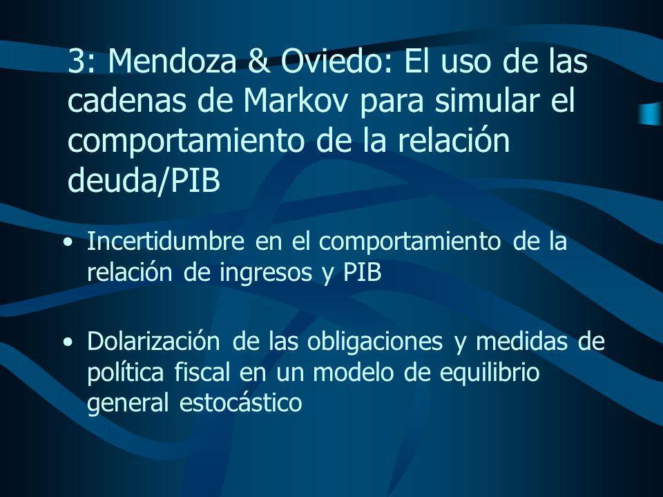 3: Mendoza & Oviedo: El uso de las cadenas de Markov para simular el comportamiento de la relación deuda/PIB Incertidumbre en el comportamiento de la relación de ingresos y PIB Dolarización de las obligaciones y medidas de política fiscal en un modelo de equilibrio general estocástico