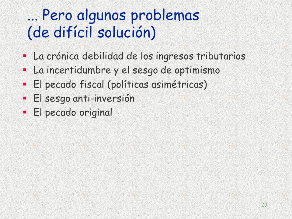 19 Dos principios para un pacto fiscal... §Estabilidad macroeconómica (niveles elevados de crecimiento y empleo)