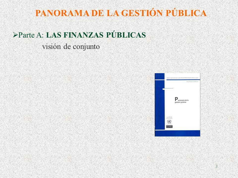 3 PANORAMA DE LA GESTIÓN PÚBLICA Parte A: LAS FINANZAS PÚBLICAS visión de conjunto