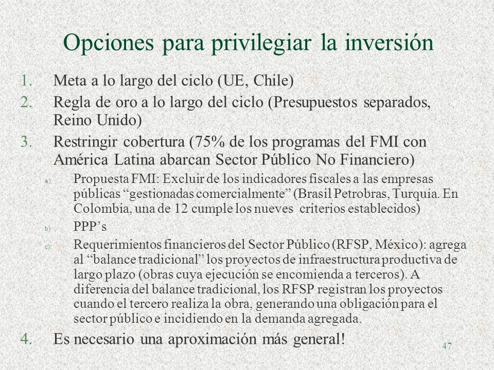 46 Cómo privilegiar la inversión? Inversión pública real, Gobierno Central