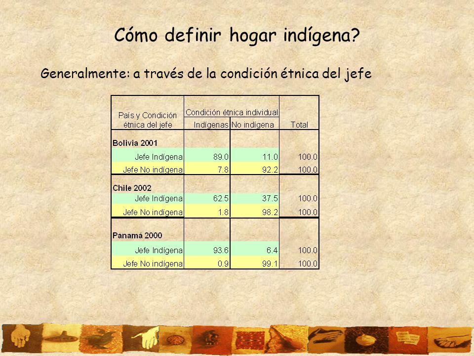 Cómo definir hogar indígena? Generalmente: a través de la condición étnica del jefe