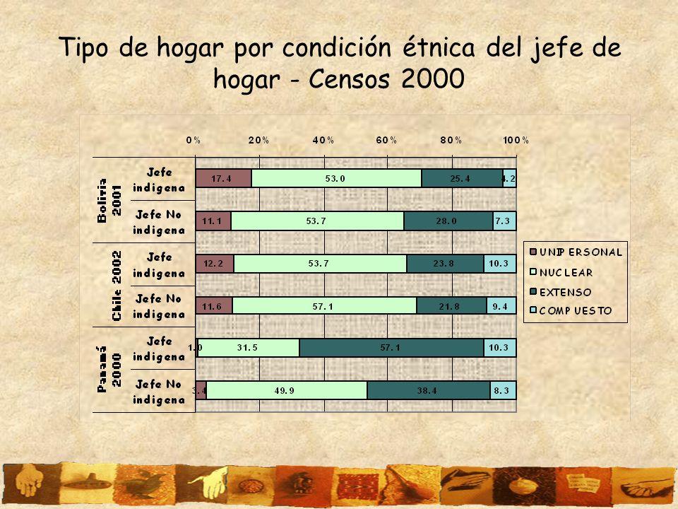 Tipo de hogar por condición étnica del jefe de hogar - Censos 2000
