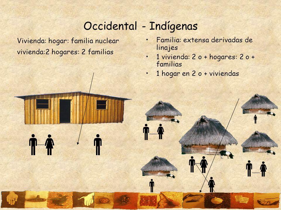 Occidental - Indígenas Vivienda: hogar: familia nuclear vivienda:2 hogares: 2 familias Familia: extensa derivadas de linajes 1 vivienda: 2 o + hogares
