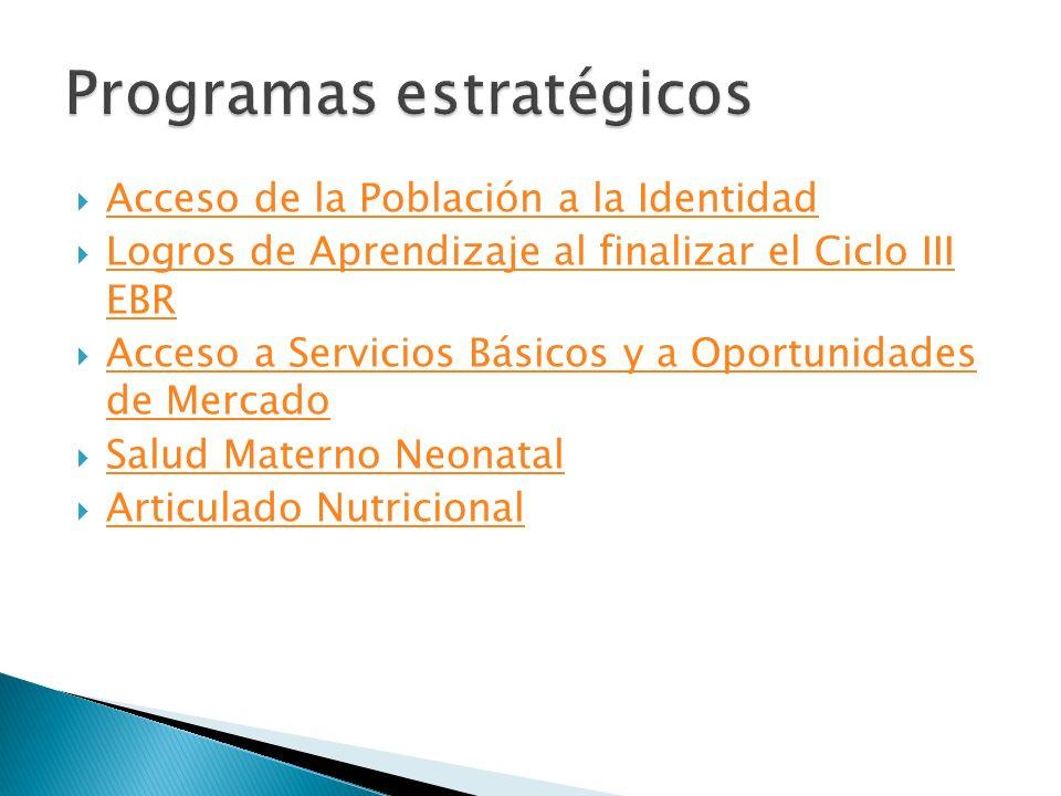 Acceso de la Población a la Identidad Logros de Aprendizaje al finalizar el Ciclo III EBR Logros de Aprendizaje al finalizar el Ciclo III EBR Acceso a Servicios Básicos y a Oportunidades de Mercado Acceso a Servicios Básicos y a Oportunidades de Mercado Salud Materno Neonatal Articulado Nutricional
