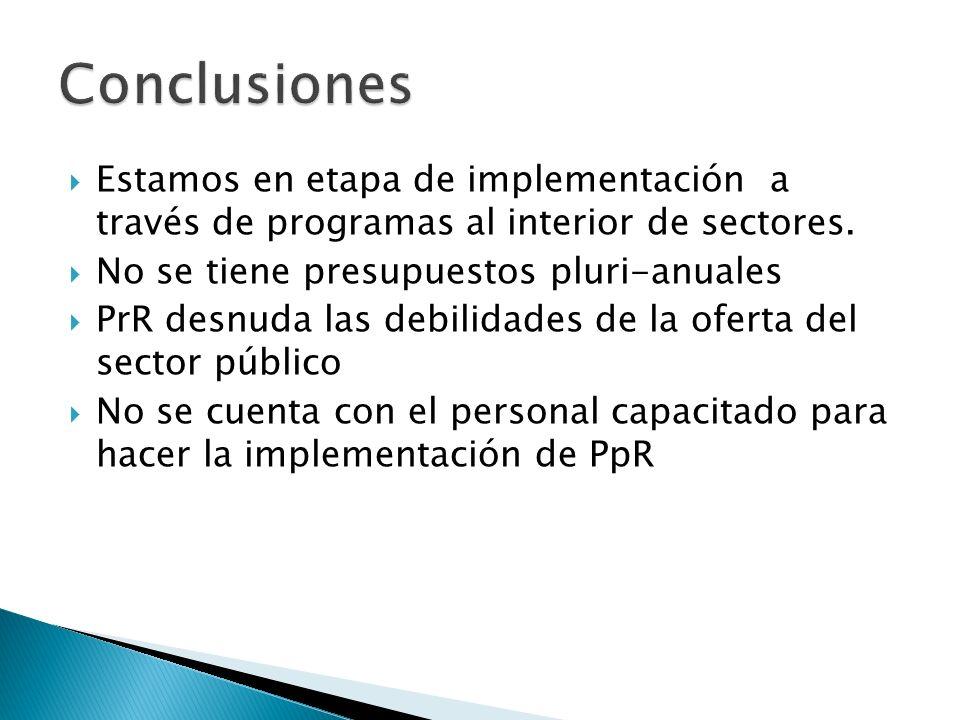 Estamos en etapa de implementación a través de programas al interior de sectores.