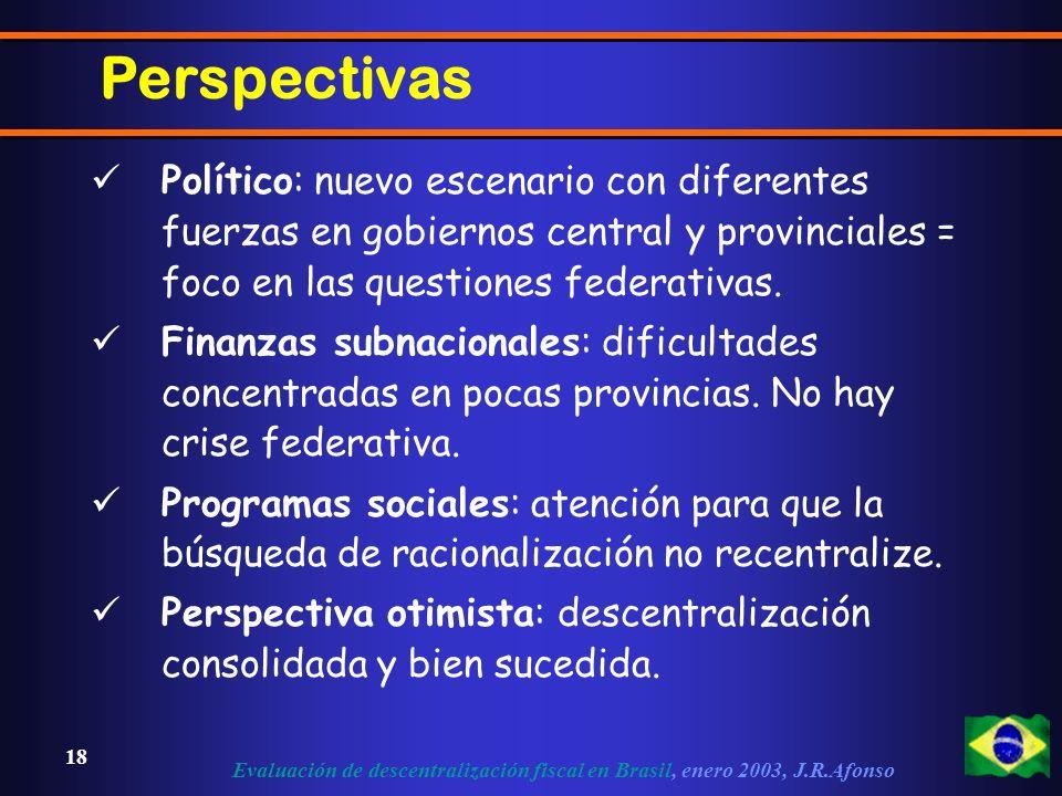 Evaluación de descentralización fiscal en Brasil, enero 2003, J.R.Afonso 18 Perspectivas Político: nuevo escenario con diferentes fuerzas en gobiernos central y provinciales = foco en las questiones federativas.