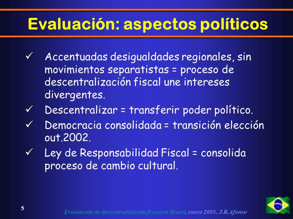 Evaluación de descentralización fiscal en Brasil, enero 2003, J.R.Afonso 5 Evaluación: aspectos políticos Accentuadas desigualdades regionales, sin movimientos separatistas = proceso de descentralización fiscal une intereses divergentes.