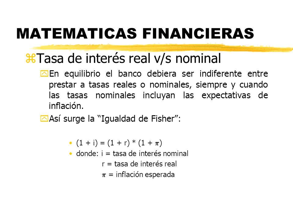 MATEMATICAS FINANCIERAS zTasa de interés real v/s nominal yEn equilibrio el banco debiera ser indiferente entre prestar a tasas reales o nominales, si