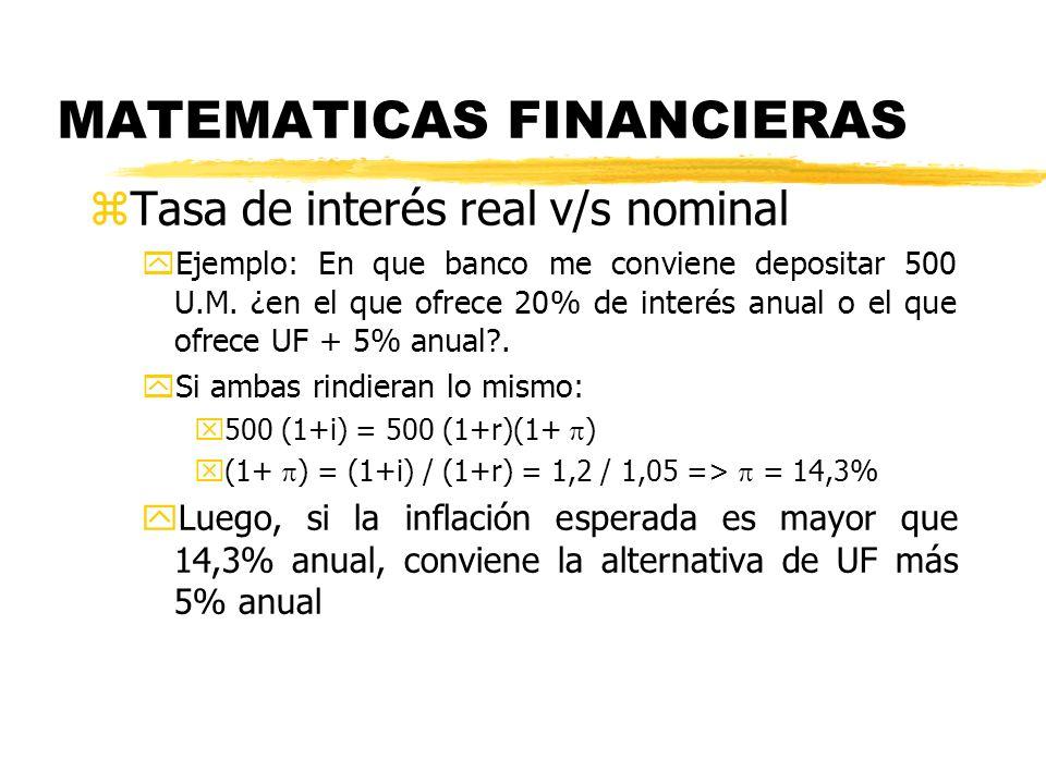 MATEMATICAS FINANCIERAS zTasa de interés real v/s nominal yEjemplo: En que banco me conviene depositar 500 U.M. ¿en el que ofrece 20% de interés anual