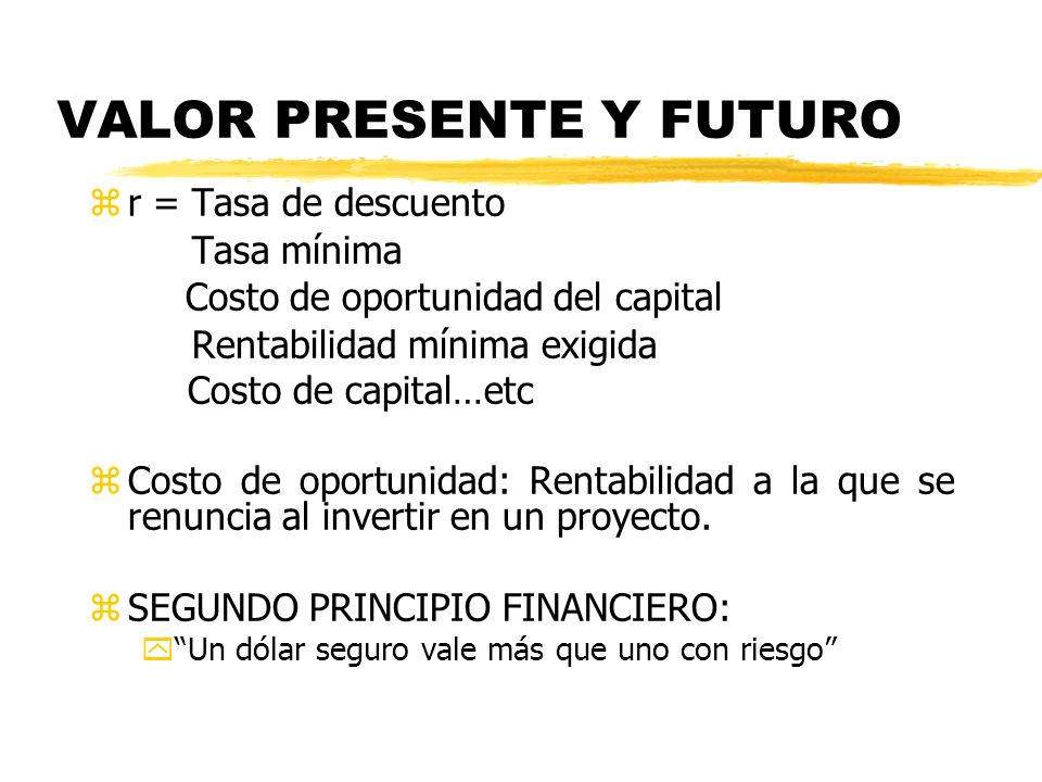 VALOR PRESENTE Y FUTURO zr = Tasa de descuento Tasa mínima Costo de oportunidad del capital Rentabilidad mínima exigida Costo de capital…etc zCosto de