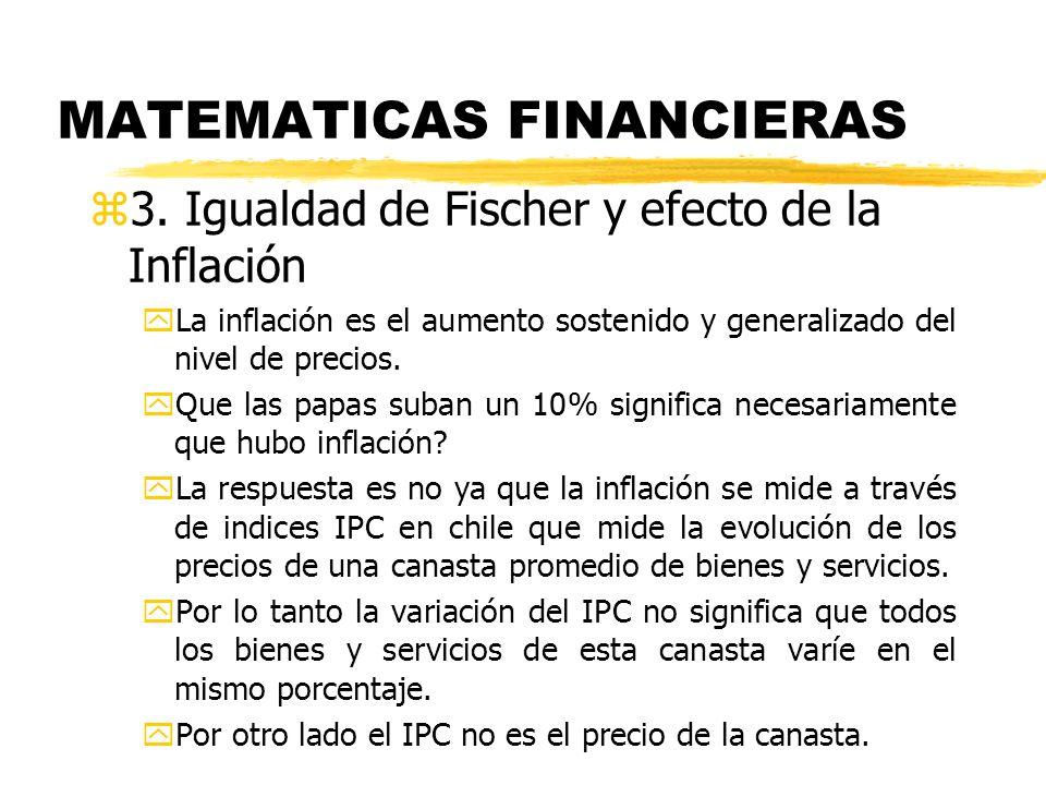 MATEMATICAS FINANCIERAS z3. Igualdad de Fischer y efecto de la Inflación yLa inflación es el aumento sostenido y generalizado del nivel de precios. yQ