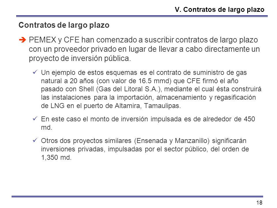 18 V. Contratos de largo plazo Contratos de largo plazo PEMEX y CFE han comenzado a suscribir contratos de largo plazo con un proveedor privado en lug