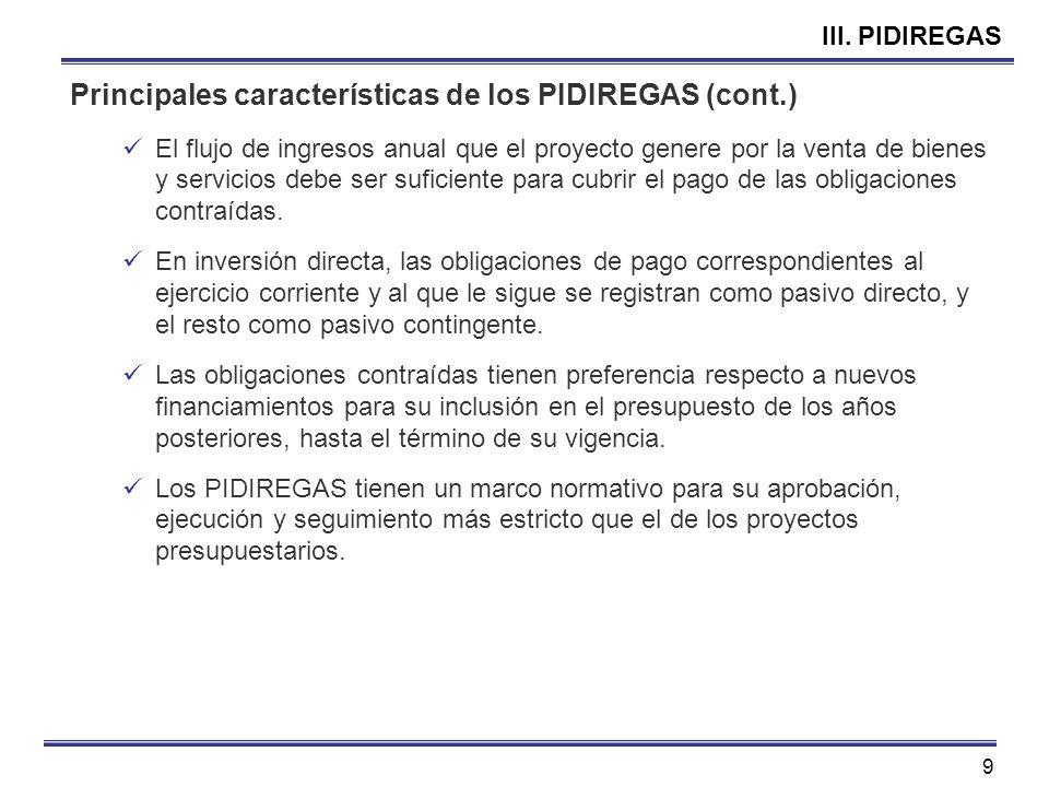 9 III. PIDIREGAS Principales características de los PIDIREGAS (cont.) El flujo de ingresos anual que el proyecto genere por la venta de bienes y servi