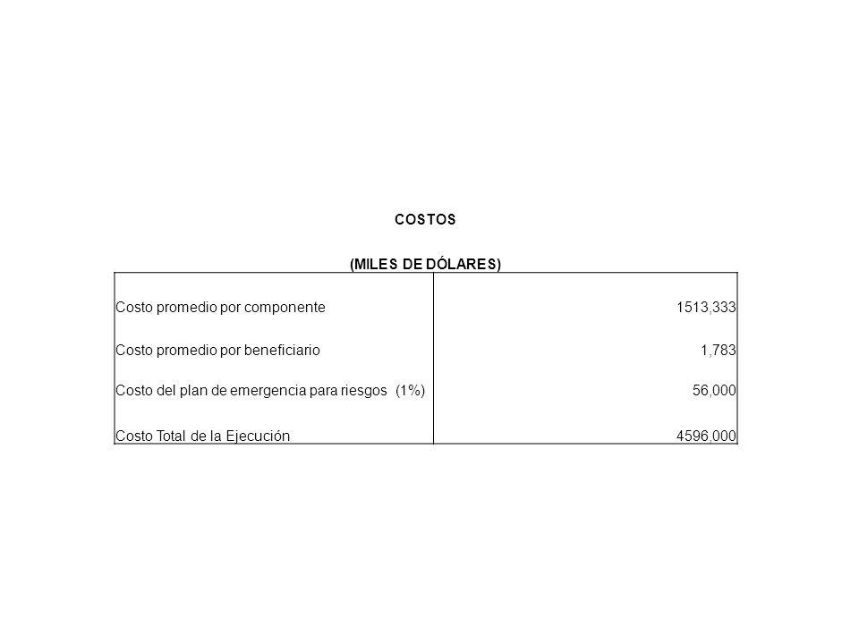 COSTOS (MILES DE DÓLARES) Costo promedio por componente1513,333 Costo promedio por beneficiario1,783 Costo del plan de emergencia para riesgos (1%)56,000 Costo Total de la Ejecución4596,000