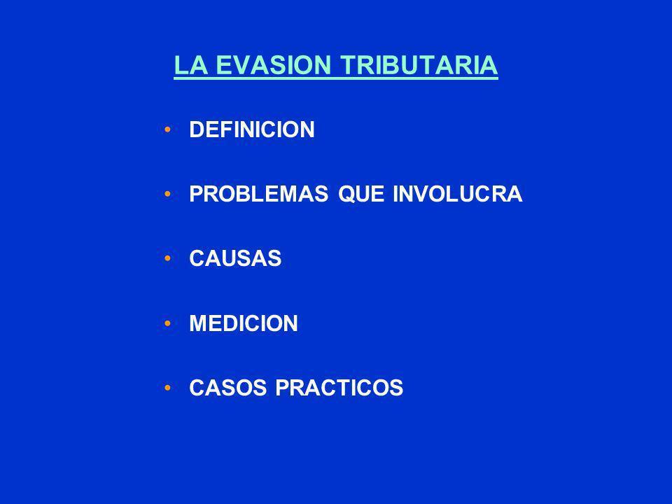 LA EVASION TRIBUTARIA DEFINICION PROBLEMAS QUE INVOLUCRA CAUSAS MEDICION CASOS PRACTICOS