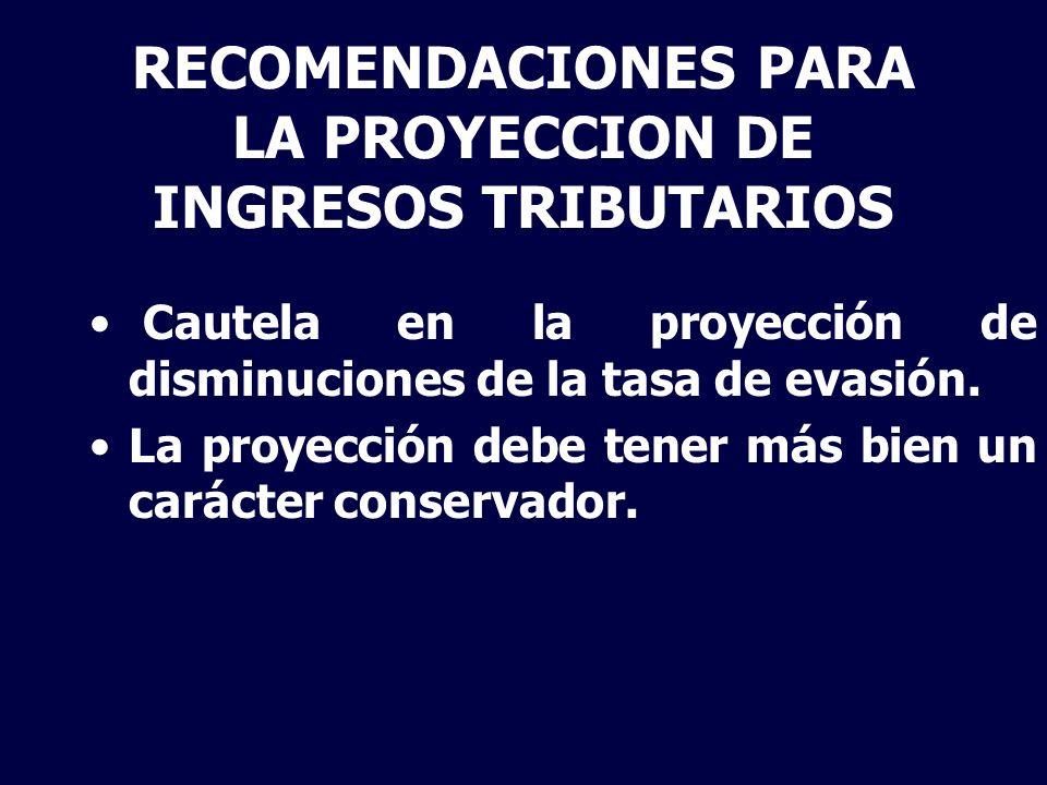 RECOMENDACIONES PARA LA PROYECCION DE INGRESOS TRIBUTARIOS Cautela en la proyección de disminuciones de la tasa de evasión. La proyección debe tener m