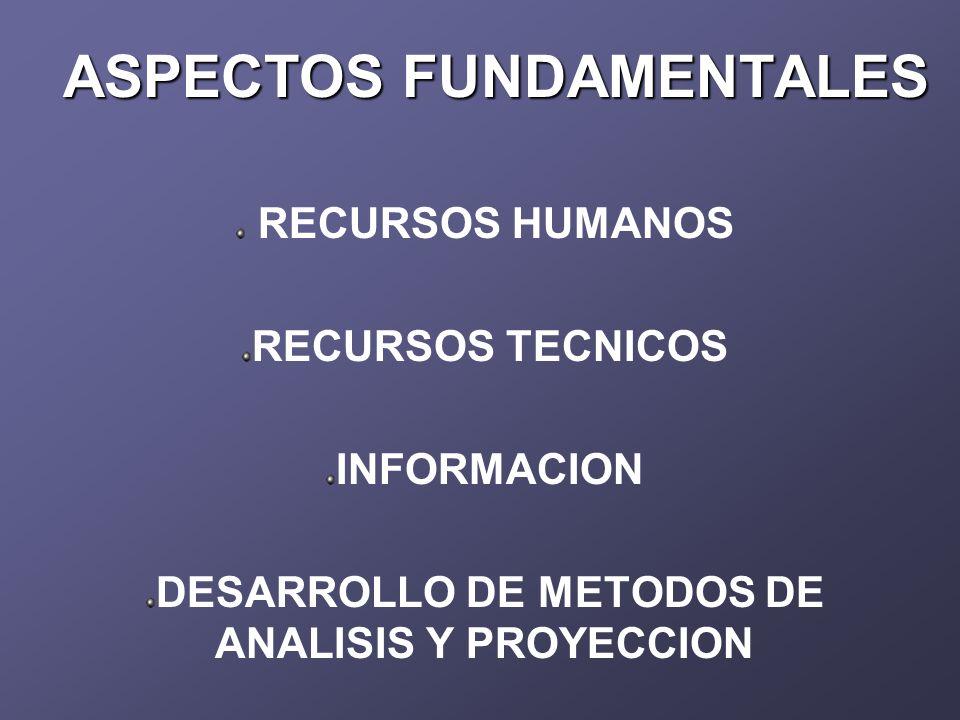 ASPECTOS FUNDAMENTALES RECURSOS HUMANOS RECURSOS TECNICOS INFORMACION DESARROLLO DE METODOS DE ANALISIS Y PROYECCION
