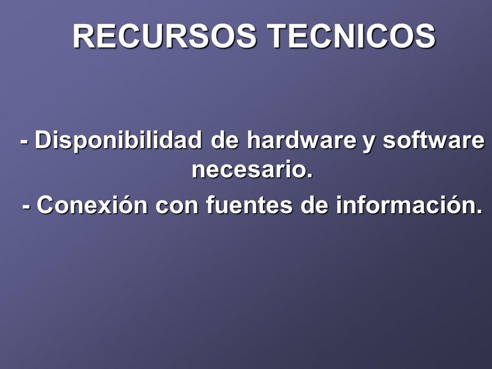 RECURSOS TECNICOS - Disponibilidad de hardware y software necesario.