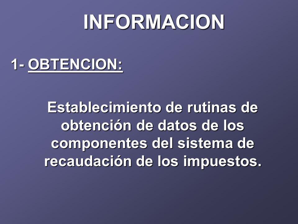 INFORMACION 1- OBTENCION: Establecimiento de rutinas de obtención de datos de los componentes del sistema de recaudación de los impuestos.