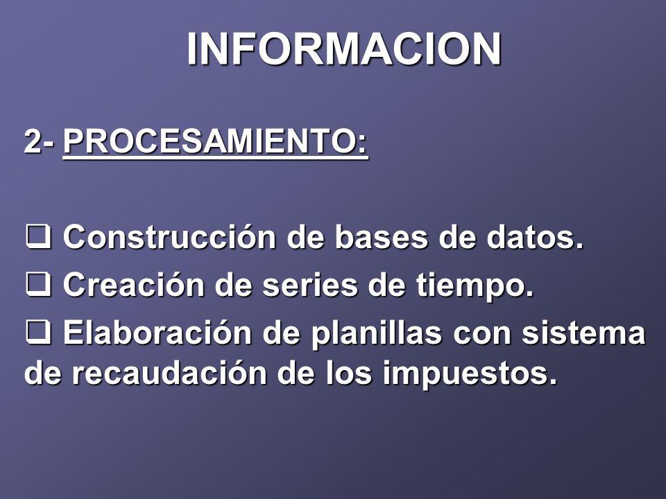 INFORMACION 2- PROCESAMIENTO: Construcción de bases de datos.