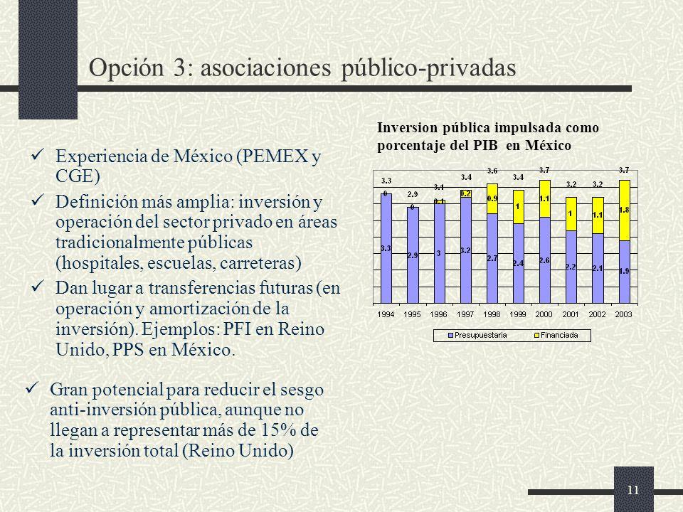 11 Opción 3: asociaciones público-privadas Experiencia de México (PEMEX y CGE) Definición más amplia: inversión y operación del sector privado en áreas tradicionalmente públicas (hospitales, escuelas, carreteras) Dan lugar a transferencias futuras (en operación y amortización de la inversión).