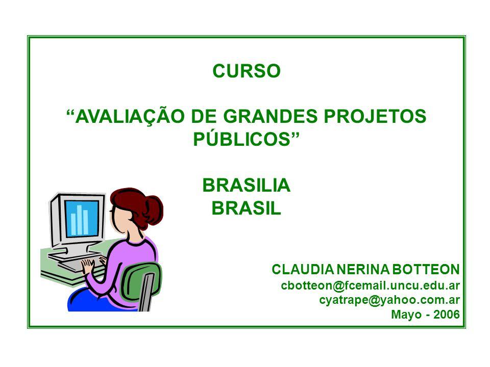 CURSO AVALIAÇÃO DE GRANDES PROJETOS PÚBLICOS BRASILIA BRASIL CLAUDIA NERINA BOTTEON cbotteon@fcemail.uncu.edu.ar cyatrape@yahoo.com.ar Mayo - 2006